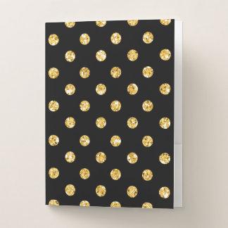 Carpeta Con Bolsillos Falsos lunares del brillo del oro en negro