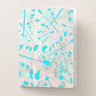 Carpeta Con Bolsillos Follaje color de rosa y azul polvoriento