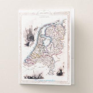 """Carpeta Con Bolsillos """"Mapa de Holanda del vintage """""""