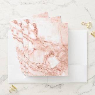 Carpeta Con Bolsillos Modelo color de rosa hermoso del mármol de la