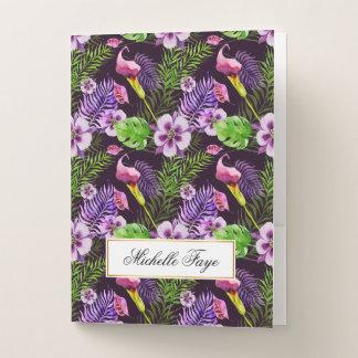 Carpeta Con Bolsillos Modelo tropical púrpura negro de la acuarela de la