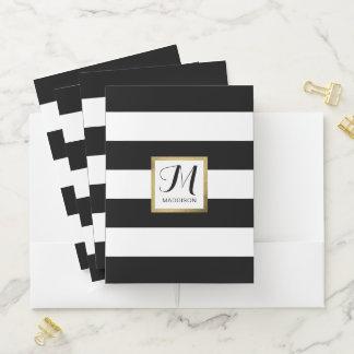 Carpeta Con Bolsillos Monograma rayado negro y blanco personalizado del