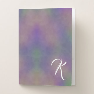 Carpeta Con Bolsillos Oro verde magenta púrpura abstracto del monograma
