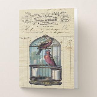 Carpeta Con Bolsillos Pájaros elegantes franceses del amor del Birdcage