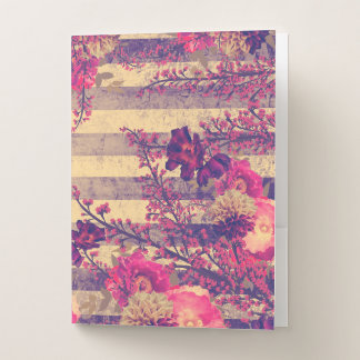 Carpeta Con Bolsillos Rosa y rayas botánicas tropicales grises