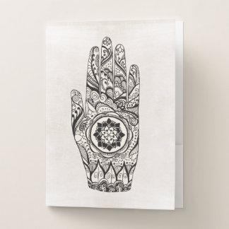Carpeta Con Bolsillos Tatuaje fresco de la mano de la alheña