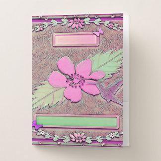 Carpeta Con Bolsillos Tema tropical de Hawaii en rosa y verde
