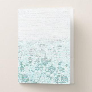 Carpeta Con Bolsillos Textura blanca y azul descolorada del rosa