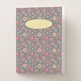 Carpeta Con Bolsillos Trullo con las notas rosadas de la escuela del