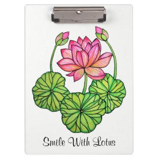 Carpeta De Pinza Acuarela Lotus rosado con los brotes y las hojas