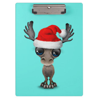 Carpeta De Pinza Alces del bebé que llevan un gorra de Santa
