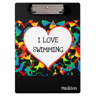 Carpeta De Pinza Amo el nadar del extracto moderno Editable de los