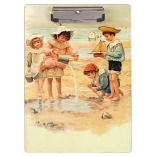 Carpeta De Pinza Arena del Victorian del vintage de los niños de la