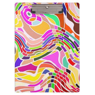 Carpeta De Pinza Arte abstracto colorido, líneas blancas de las