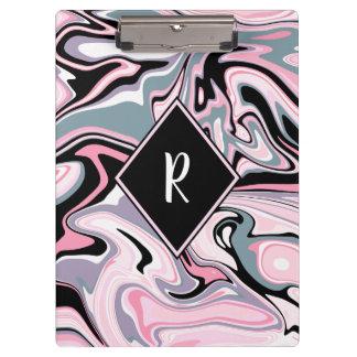Carpeta De Pinza Azul negro púrpura rosado de mármol colorido
