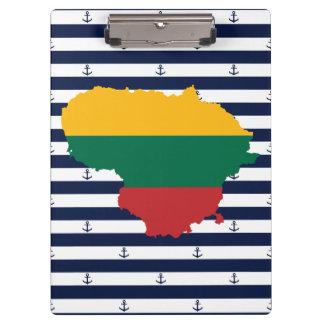 Carpeta De Pinza Bandera/mapa de Lituania en fondo rayado
