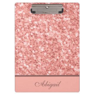 Carpeta De Pinza Brillo color de rosa con monograma del oro