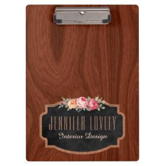 Carpeta De Pinza Brillo subió mirada de madera elegante
