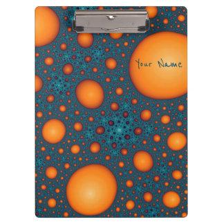 Carpeta De Pinza Burbujas anaranjadas. Añada su texto del nombre o