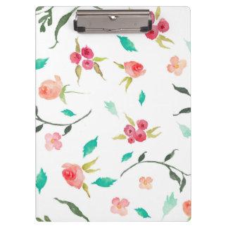 Carpeta De Pinza Campos de flor de la acuarela del tablero