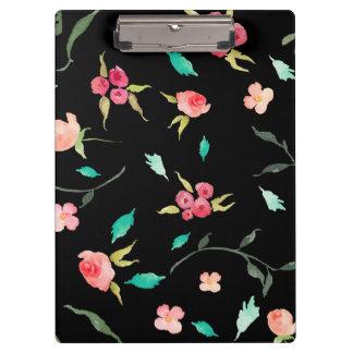 Carpeta De Pinza Campos de flor de la acuarela del tablero, negros