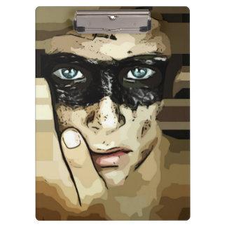 Carpeta De Pinza Capuchino rayó al hombre en tablero marrón