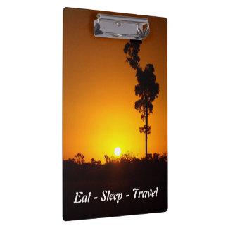 Carpeta De Pinza Coma el tablero de la puesta del sol del viaje del