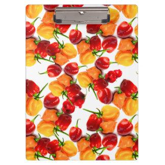 Carpeta De Pinza Comida caliente anaranjada de las pimientas rojas
