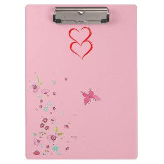 Carpeta De Pinza Corazones rosados femeninos y tablero de clip de