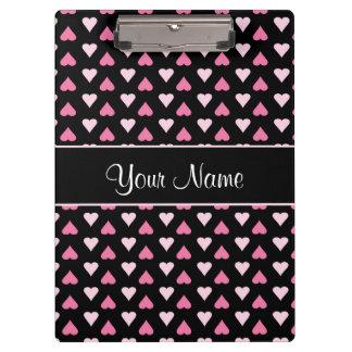 Carpeta De Pinza Corazones rosados negros del amor