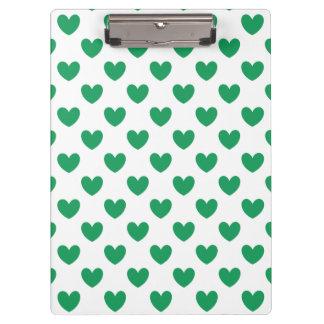 Carpeta De Pinza Corazones verdes de la polca de Kelly en blanco