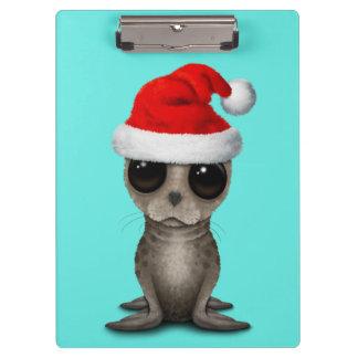 Carpeta De Pinza Cría de foca que lleva un gorra de Santa