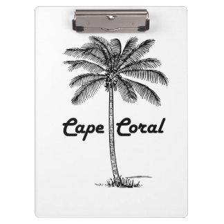 Carpeta De Pinza Diseño blanco y negro del coral y de la palma del