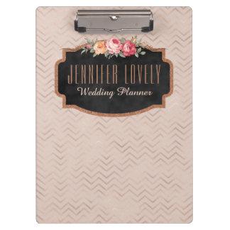 Carpeta De Pinza El oro color de rosa personalizado Chevron raya