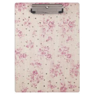 Carpeta De Pinza El rosa en colores pastel bohemio raya lunares