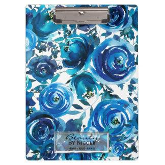 Carpeta De Pinza Elegante floral de las flores del añil azul