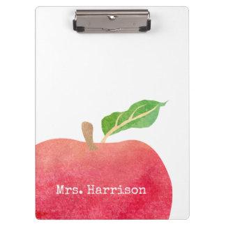 Carpeta De Pinza Escuela roja personalizada de Apple de la acuarela