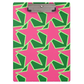 Carpeta De Pinza Estrella moderna geométrica - rosa y verde de la