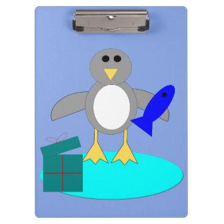 Carpeta De Pinza Felices Navidad que pescan el tablero del pingüino