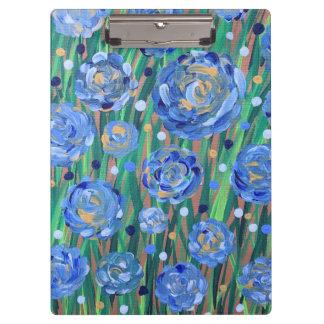Carpeta De Pinza Floraciones azules