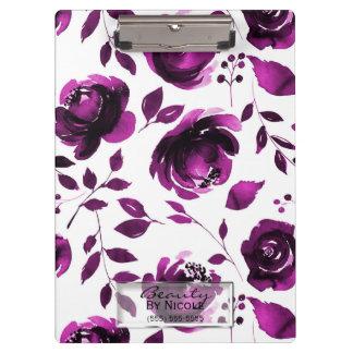 Carpeta De Pinza Floral atractivo botánico de los rosas púrpuras
