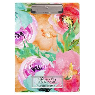 Carpeta De Pinza Floral colorido brillante de la acuarela