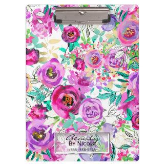 Carpeta De Pinza Floral moderno brillante rosado púrpura