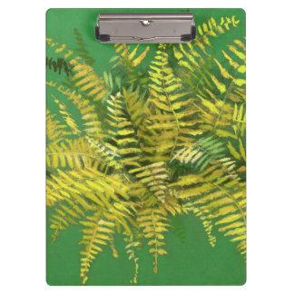 Carpeta De Pinza Helecho, frondas, verdor amarillo de oro floral,