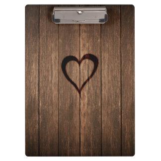 Carpeta De Pinza Impresión quemada madera rústica del corazón