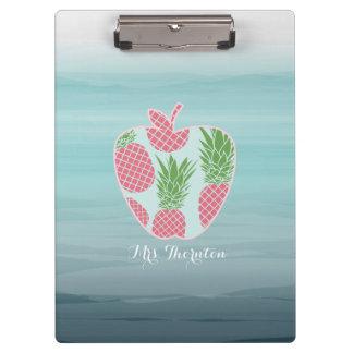 Carpeta De Pinza La impresión Apple de la piña de Ombre personalizó