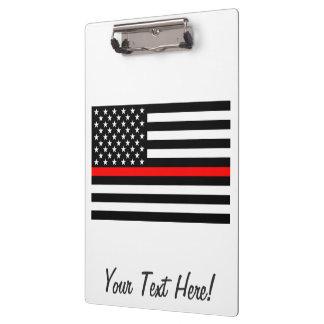 Carpeta De Pinza Línea roja fina personalizada bandera americana en