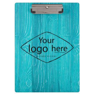 Carpeta De Pinza logotipo de encargo en viruta del azul de la