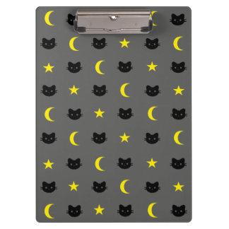 Carpeta De Pinza Luna del gato del gatito y tablero de las
