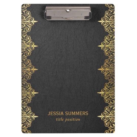Carpeta De Pinza Marco negro de la frontera del oro del cuero del
